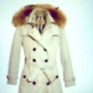 Burberry Churchdale Stone trench coat quil FOX fur